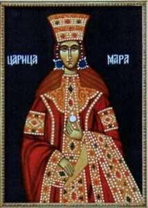 Mara Branković kćerka najbogatijeg srpskog vlaadara ikada na slici vizantijska predstava na kojoj piše Carica Mara